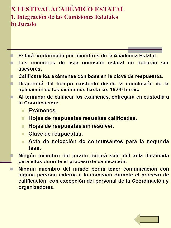 X FESTIVAL ACADÉMICO ESTATAL 1. Integración de las Comisiones Estatales b) Jurado Estará conformada por miembros de la Academia Estatal. Los miembros