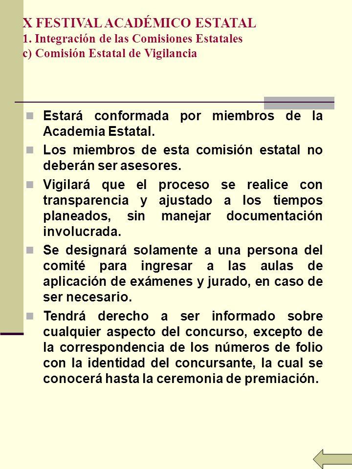 X FESTIVAL ACADÉMICO ESTATAL 1. Integración de las Comisiones Estatales c) Comisión Estatal de Vigilancia Estará conformada por miembros de la Academi