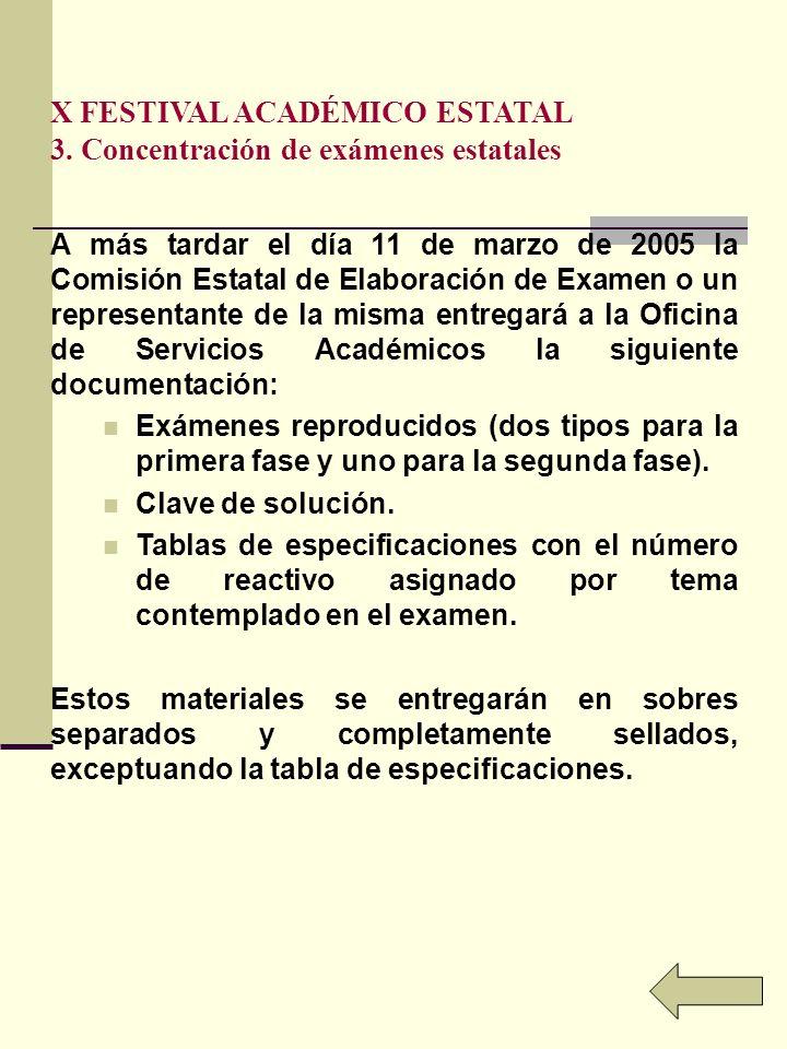 X FESTIVAL ACADÉMICO ESTATAL 3. Concentración de exámenes estatales A más tardar el día 11 de marzo de 2005 la Comisión Estatal de Elaboración de Exam