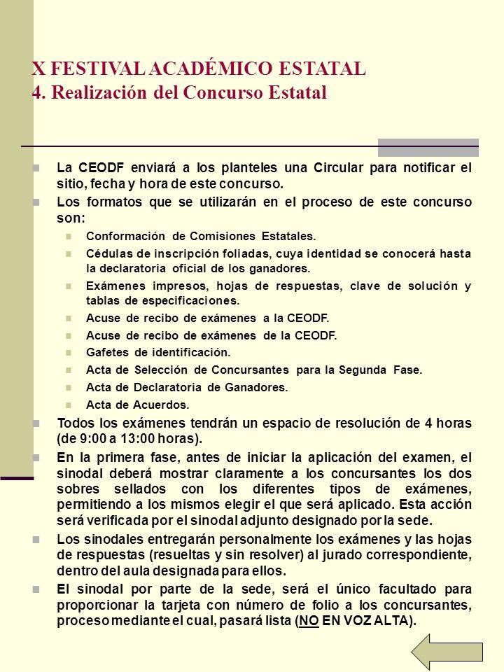 X FESTIVAL ACADÉMICO ESTATAL 4.