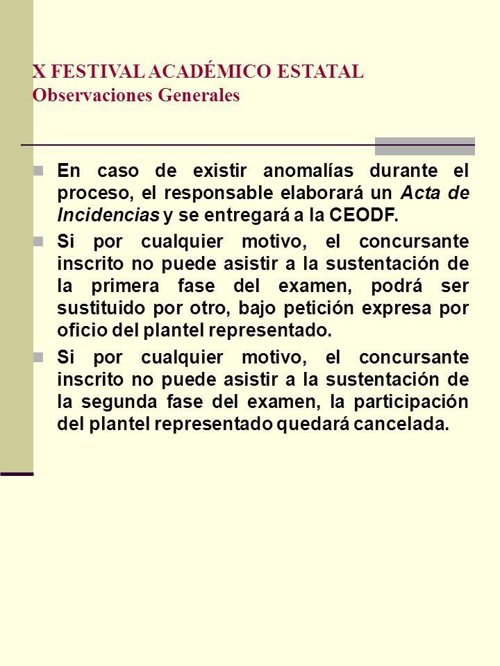 X FESTIVAL ACADÉMICO ESTATAL Observaciones Generales En caso de existir anomalías durante el proceso, el responsable elaborará un Acta de Incidencias y se entregará a la CEODF.