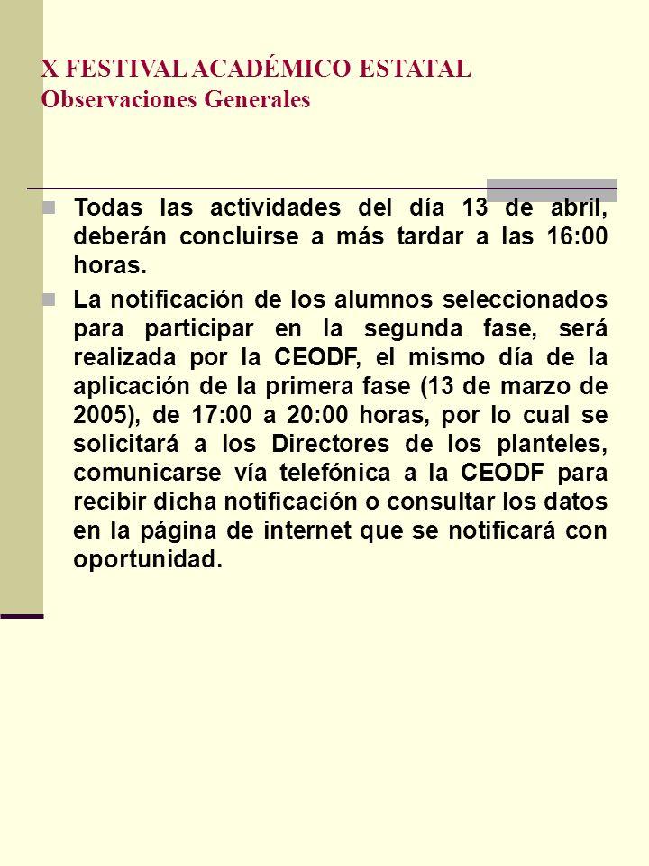 X FESTIVAL ACADÉMICO ESTATAL Observaciones Generales Todas las actividades del día 13 de abril, deberán concluirse a más tardar a las 16:00 horas. La