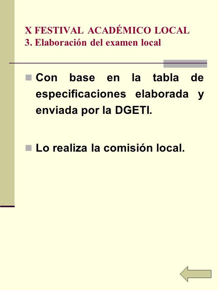 X FESTIVAL ACADÉMICO LOCAL 3. Elaboración del examen local Con base en la tabla de especificaciones elaborada y enviada por la DGETI. Lo realiza la co