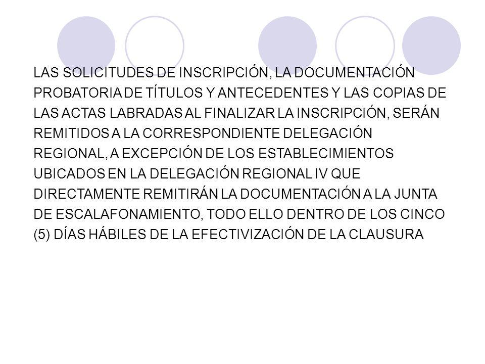 LAS SOLICITUDES DE INSCRIPCIÓN, LA DOCUMENTACIÓN PROBATORIA DE TÍTULOS Y ANTECEDENTES Y LAS COPIAS DE LAS ACTAS LABRADAS AL FINALIZAR LA INSCRIPCIÓN,