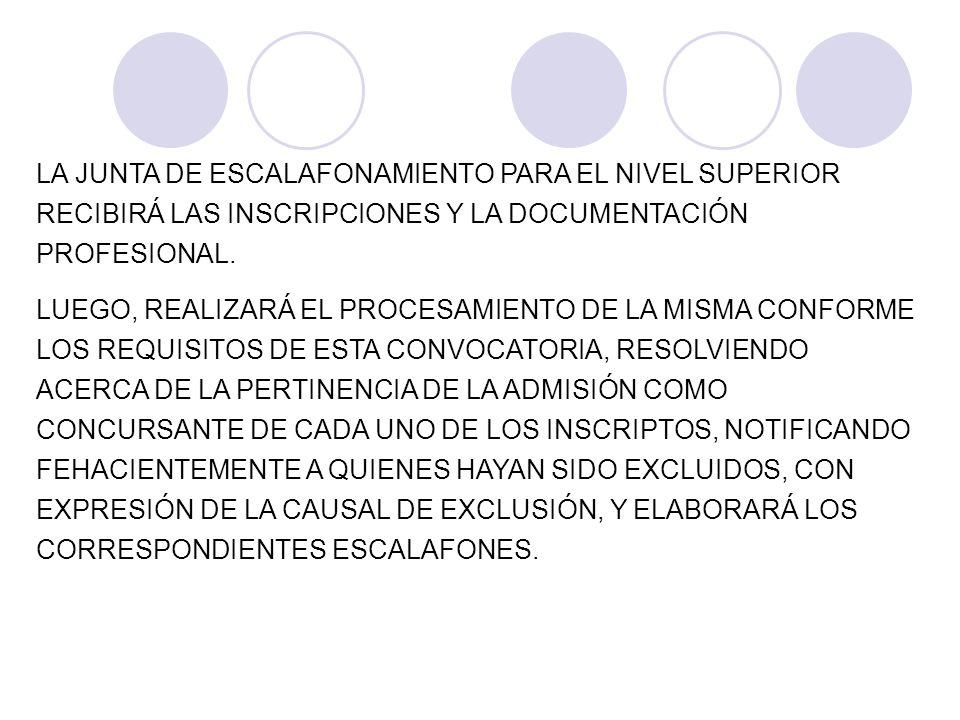 LA JUNTA DE ESCALAFONAMIENTO PARA EL NIVEL SUPERIOR RECIBIRÁ LAS INSCRIPCIONES Y LA DOCUMENTACIÓN PROFESIONAL. LUEGO, REALIZARÁ EL PROCESAMIENTO DE LA