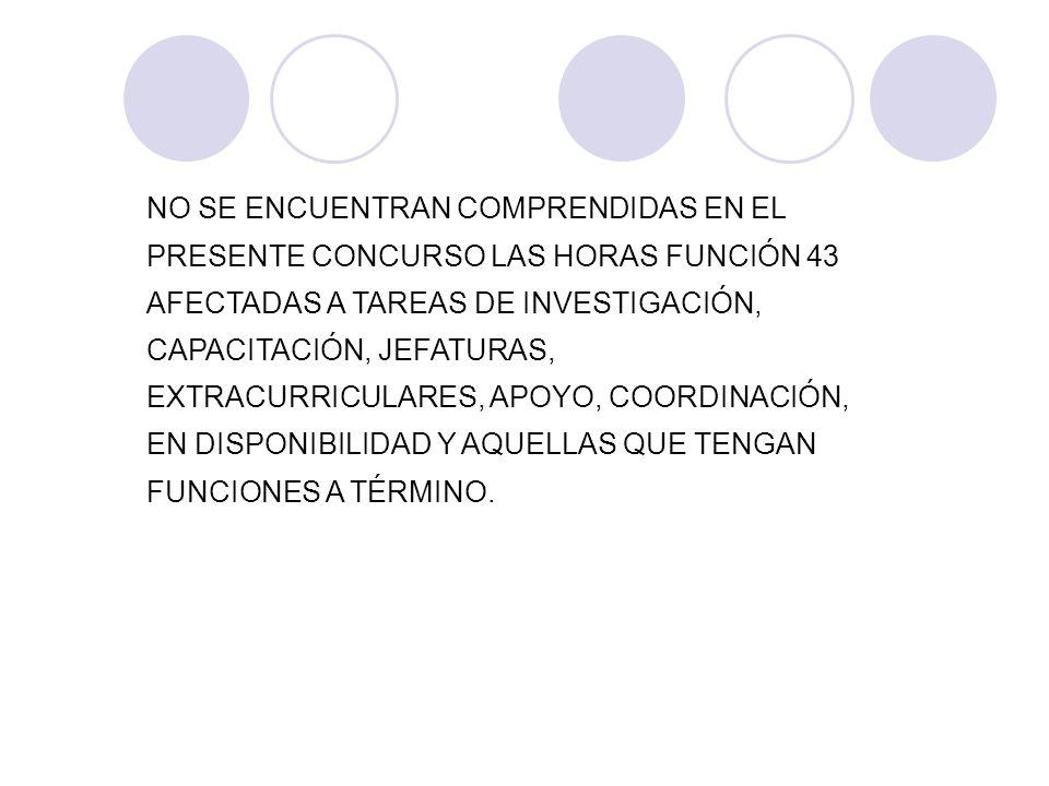 NO SE ENCUENTRAN COMPRENDIDAS EN EL PRESENTE CONCURSO LAS HORAS FUNCIÓN 43 AFECTADAS A TAREAS DE INVESTIGACIÓN, CAPACITACIÓN, JEFATURAS, EXTRACURRICUL