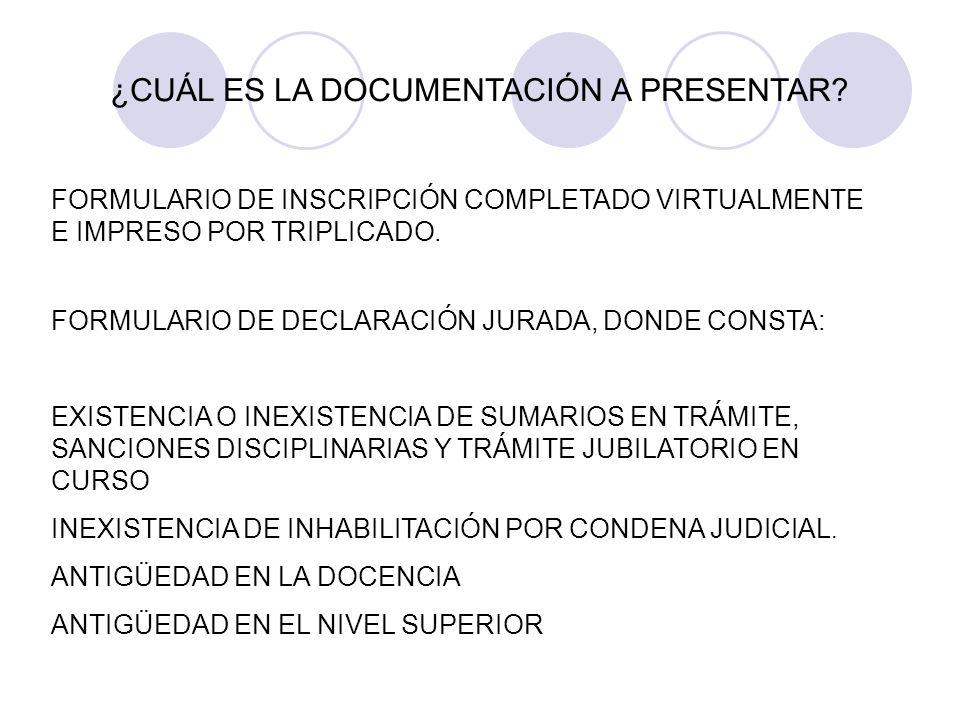 CONSTANCIAS DE ANTIGÜEDAD (UNA POR INSTITUCIÓN), DISCRIMINADA EN LOS CARGOS Y/ U HORAS CÁTEDRA DESEMPEÑADOS AL 30/09/2008.