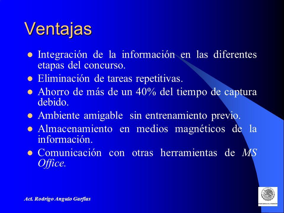 Act. Rodrigo Angulo Garfias Ventajas Integración de la información en las diferentes etapas del concurso. Eliminación de tareas repetitivas. Ahorro de
