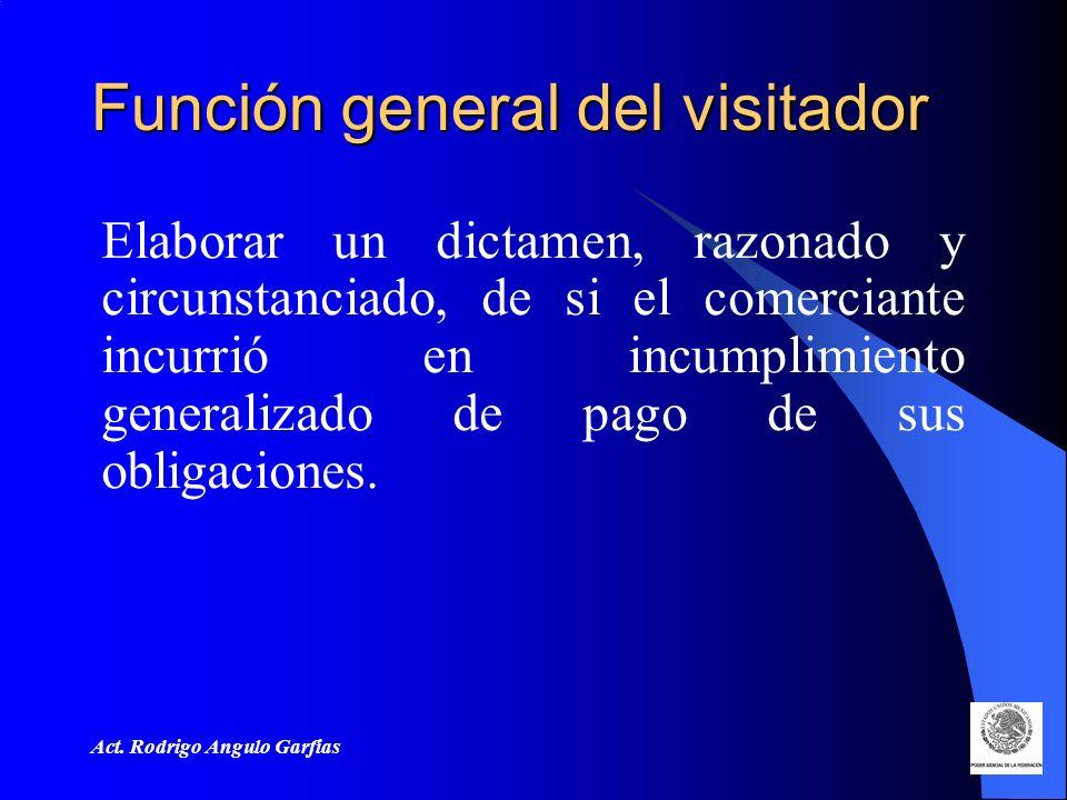 Act. Rodrigo Angulo Garfias Función general del visitador Elaborar un dictamen, razonado y circunstanciado, de si el comerciante incurrió en incumplim