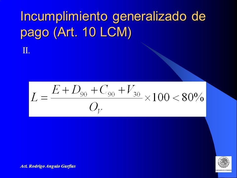 Act. Rodrigo Angulo Garfias Incumplimiento generalizado de pago (Art. 10 LCM) II.