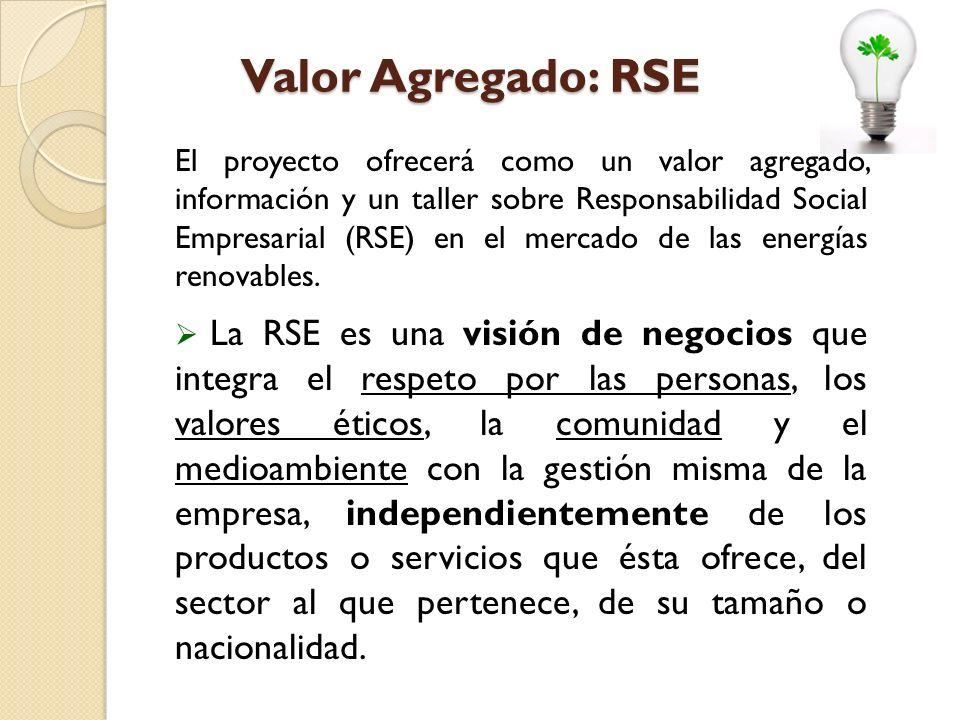 Valor Agregado: RSE El proyecto ofrecerá como un valor agregado, información y un taller sobre Responsabilidad Social Empresarial (RSE) en el mercado de las energías renovables.