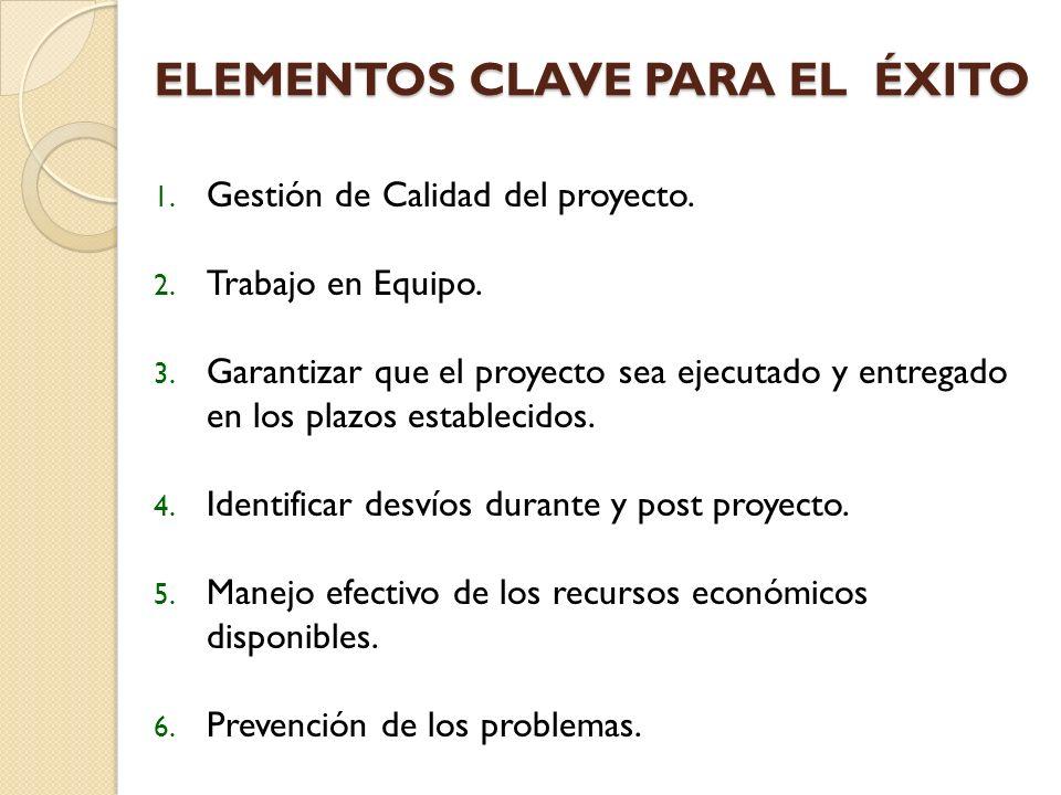 ELEMENTOS CLAVE PARA EL ÉXITO 1.Gestión de Calidad del proyecto.
