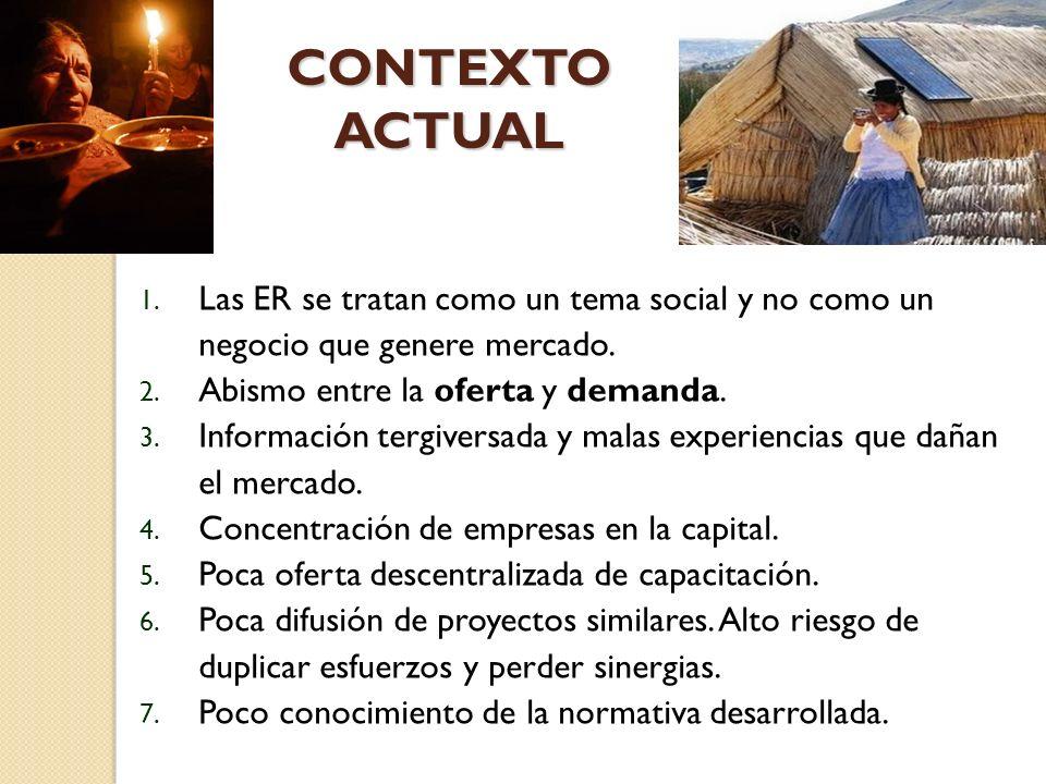CONTEXTO ACTUAL 1.Las ER se tratan como un tema social y no como un negocio que genere mercado.