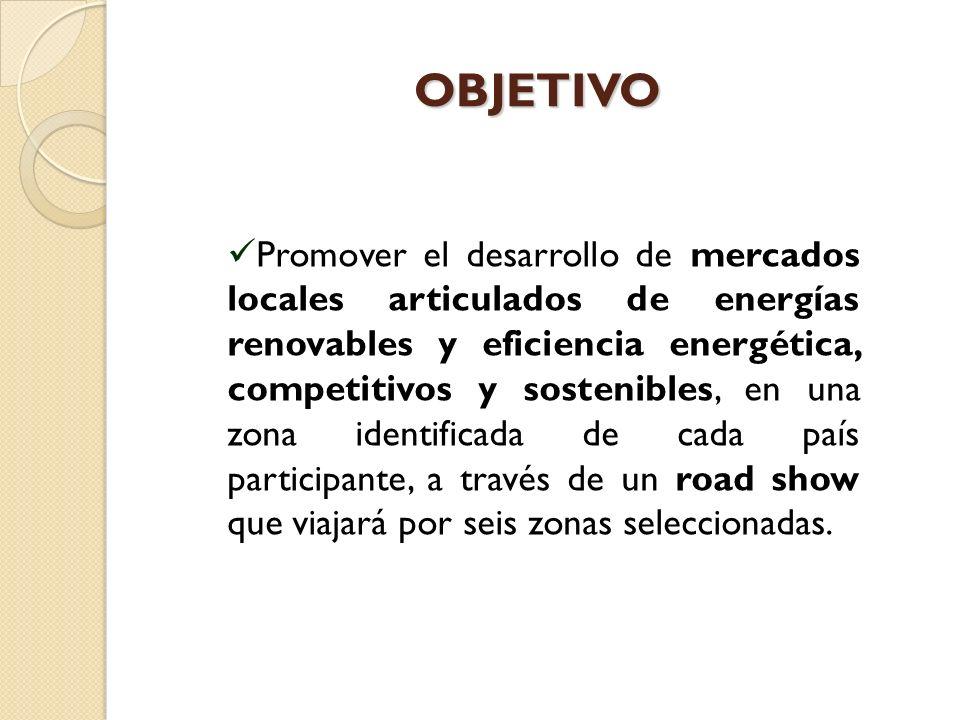 OBJETIVO OBJETIVO Promover el desarrollo de mercados locales articulados de energías renovables y eficiencia energética, competitivos y sostenibles, en una zona identificada de cada país participante, a través de un road show que viajará por seis zonas seleccionadas.