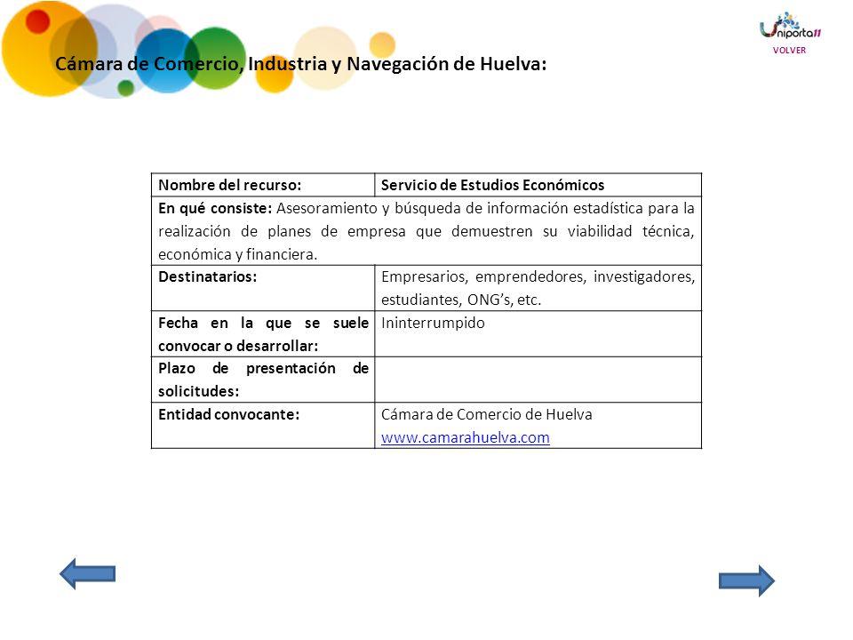 Cámara de Comercio, Industria y Navegación de Huelva: Nombre del recurso:Servicio de Estudios Económicos En qué consiste: Asesoramiento y búsqueda de información estadística para la realización de planes de empresa que demuestren su viabilidad técnica, económica y financiera.