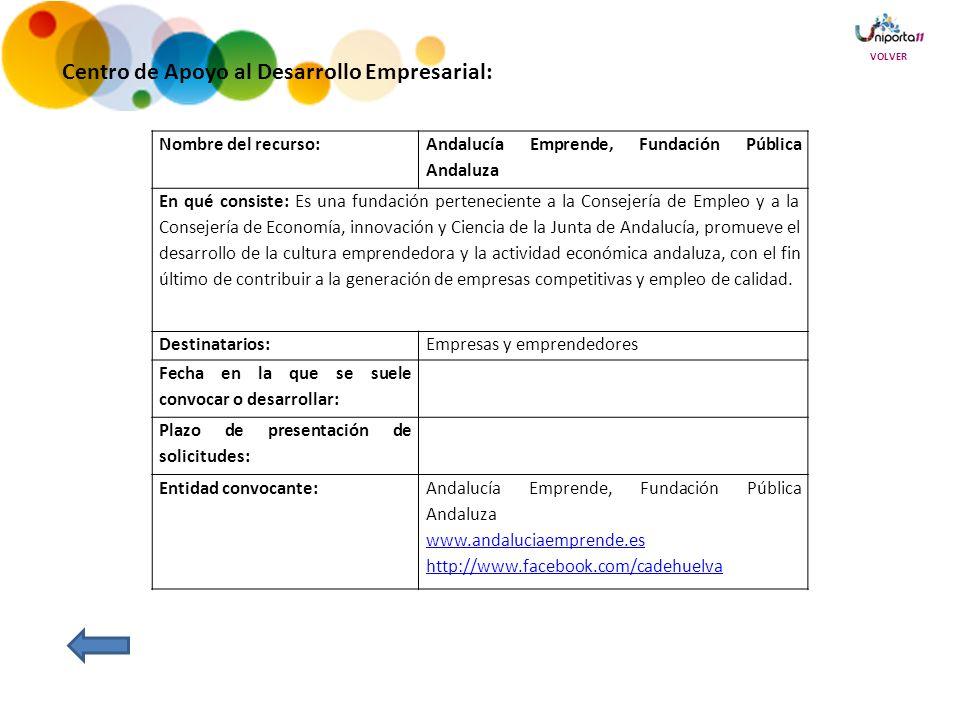 Centro de Apoyo al Desarrollo Empresarial: Nombre del recurso: Andalucía Emprende, Fundación Pública Andaluza En qué consiste: Es una fundación perteneciente a la Consejería de Empleo y a la Consejería de Economía, innovación y Ciencia de la Junta de Andalucía, promueve el desarrollo de la cultura emprendedora y la actividad económica andaluza, con el fin último de contribuir a la generación de empresas competitivas y empleo de calidad.
