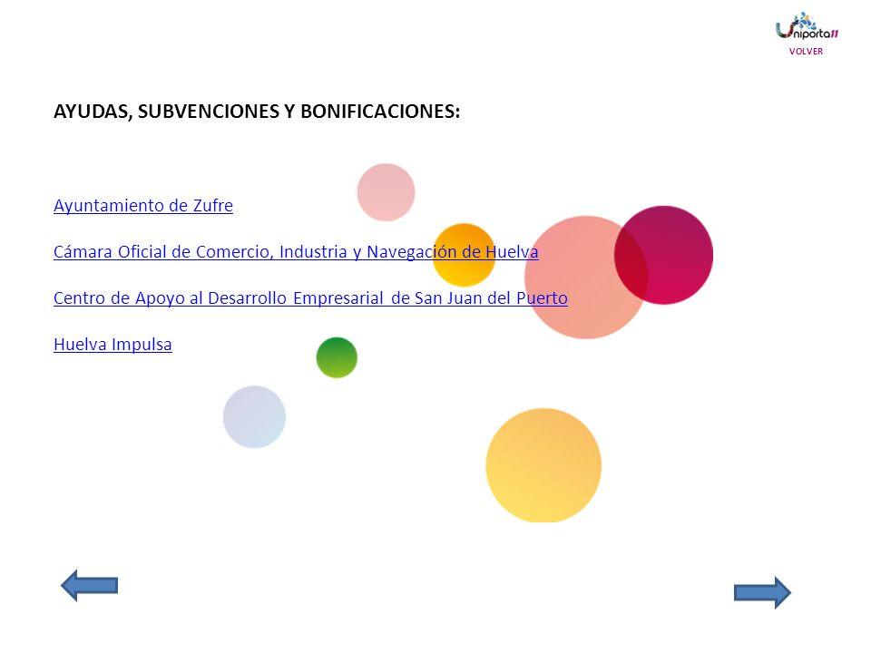 AYUDAS, SUBVENCIONES Y BONIFICACIONES: Ayuntamiento de Zufre Cámara Oficial de Comercio, Industria y Navegación de Huelva Centro de Apoyo al Desarrollo Empresarial de San Juan del Puerto Huelva Impulsa VOLVER