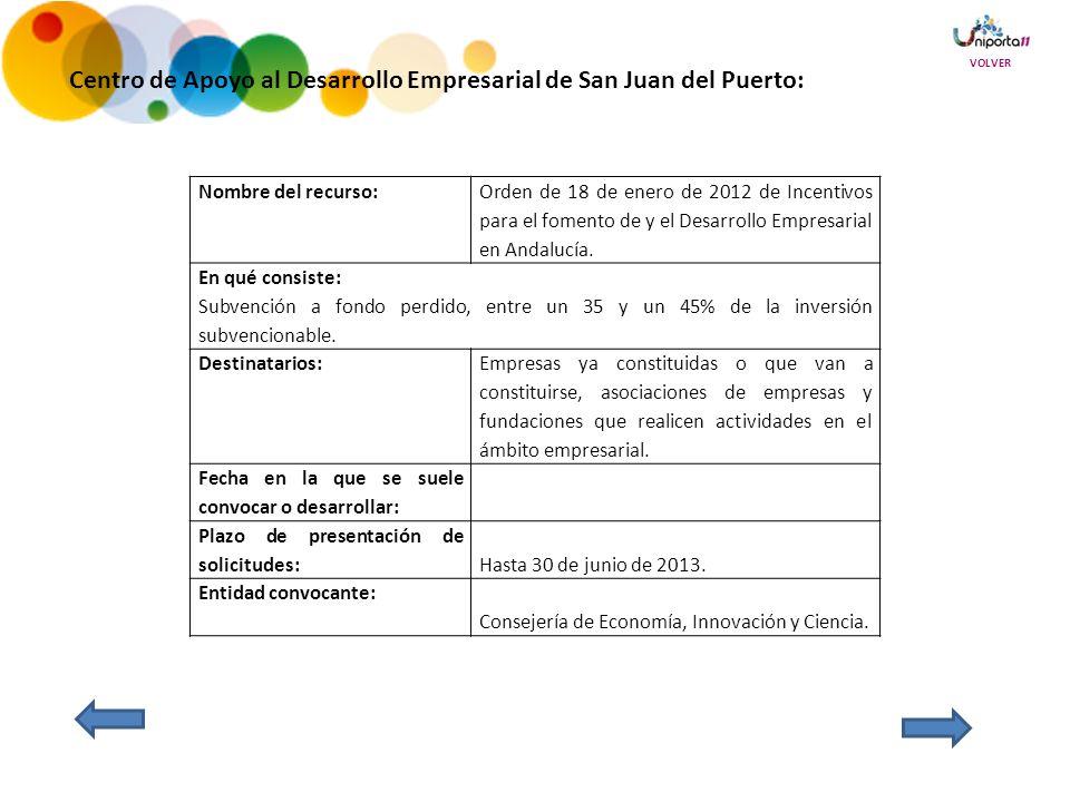 Centro de Apoyo al Desarrollo Empresarial de San Juan del Puerto: Nombre del recurso: Orden de 18 de enero de 2012 de Incentivos para el fomento de y el Desarrollo Empresarial en Andalucía.
