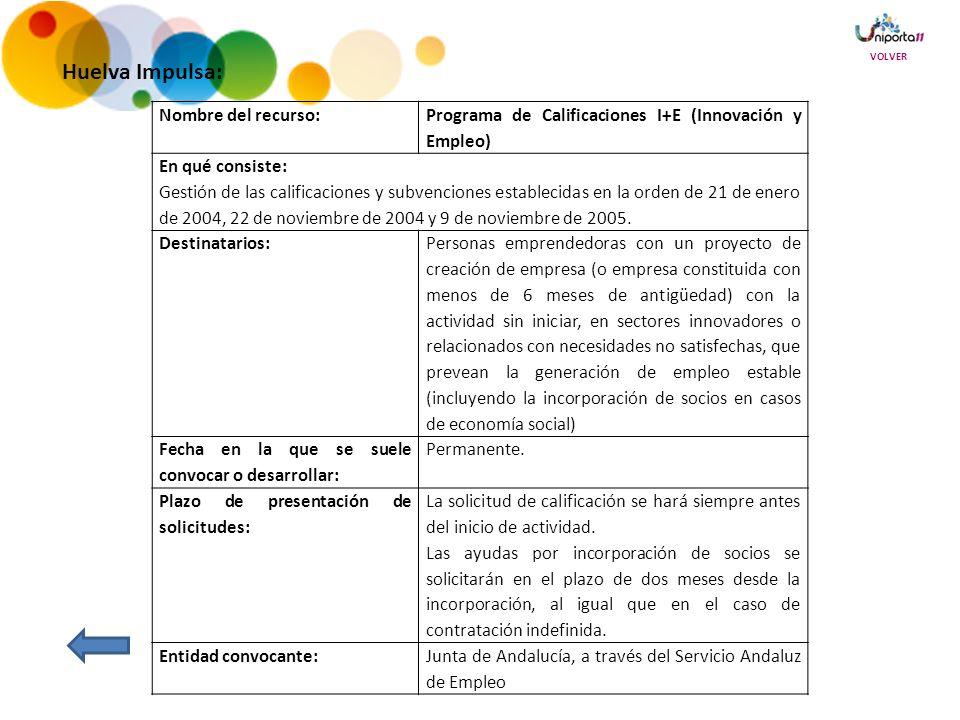 Huelva Impulsa: Nombre del recurso: Programa de Calificaciones I+E (Innovación y Empleo) En qué consiste: Gestión de las calificaciones y subvenciones establecidas en la orden de 21 de enero de 2004, 22 de noviembre de 2004 y 9 de noviembre de 2005.