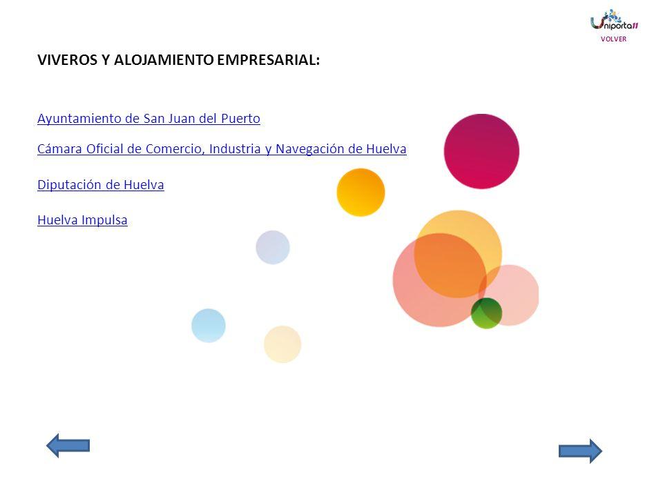 VIVEROS Y ALOJAMIENTO EMPRESARIAL: Ayuntamiento de San Juan del Puerto Cámara Oficial de Comercio, Industria y Navegación de Huelva Diputación de Huelva Huelva Impulsa VOLVER
