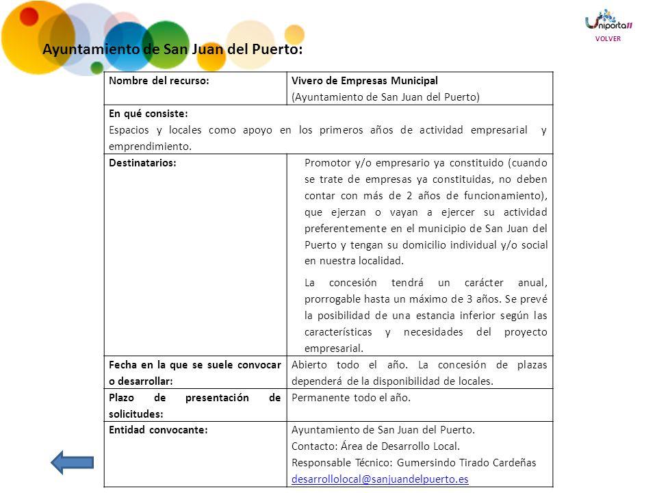 Nombre del recurso: Vivero de Empresas Municipal (Ayuntamiento de San Juan del Puerto) En qué consiste: Espacios y locales como apoyo en los primeros años de actividad empresarial y emprendimiento.