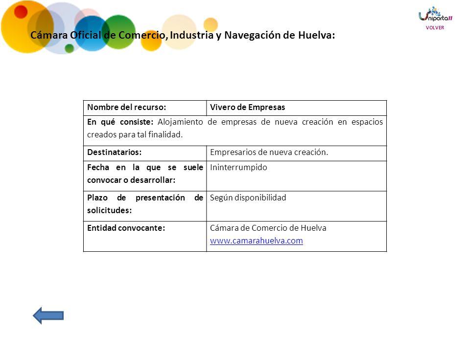 Cámara Oficial de Comercio, Industria y Navegación de Huelva: Nombre del recurso:Vivero de Empresas En qué consiste: Alojamiento de empresas de nueva creación en espacios creados para tal finalidad.