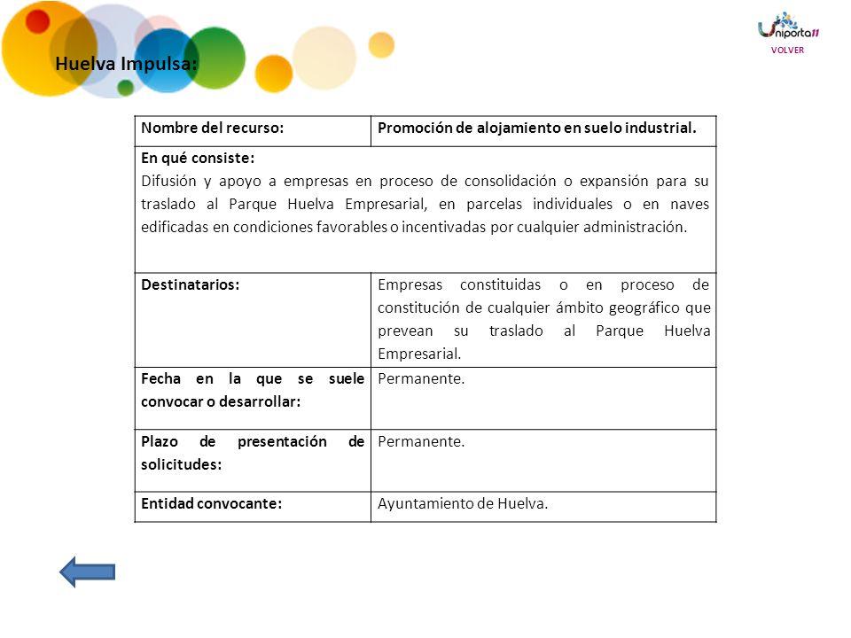 Huelva Impulsa: Nombre del recurso:Promoción de alojamiento en suelo industrial.