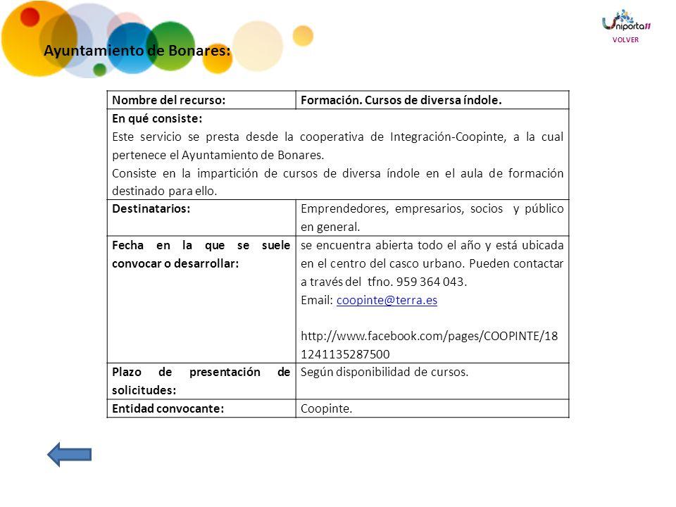 Ayuntamiento de Bonares: Nombre del recurso:Formación.