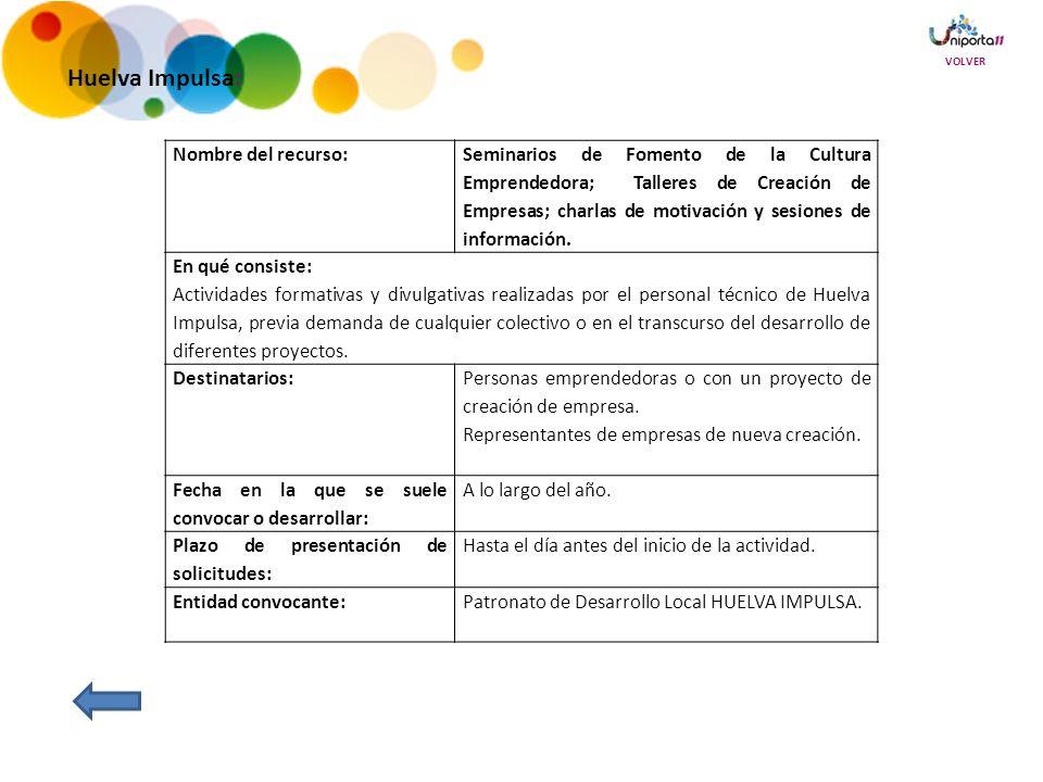 Huelva Impulsa: Nombre del recurso: Seminarios de Fomento de la Cultura Emprendedora; Talleres de Creación de Empresas; charlas de motivación y sesiones de información.