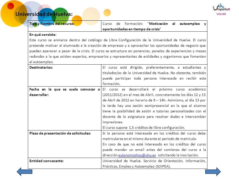 Universidad de Huelva: Tipo y Nombre del recurso: Curso de Formación: Motivación al autoempleo y oportunidades en tiempo de crisis En qué consiste: Este curso se enmarca dentro del catálogo de Libre Configuración de la Universidad de Huelva.