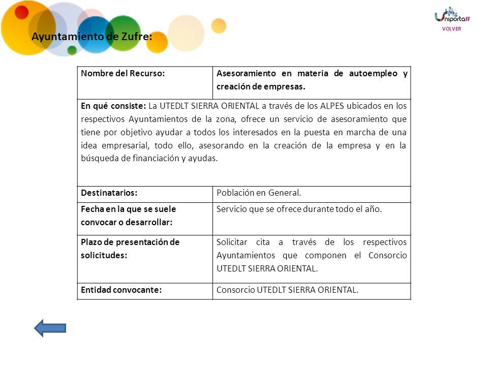 Ayuntamiento de Zufre: Nombre del Recurso: Asesoramiento en materia de autoempleo y creación de empresas.