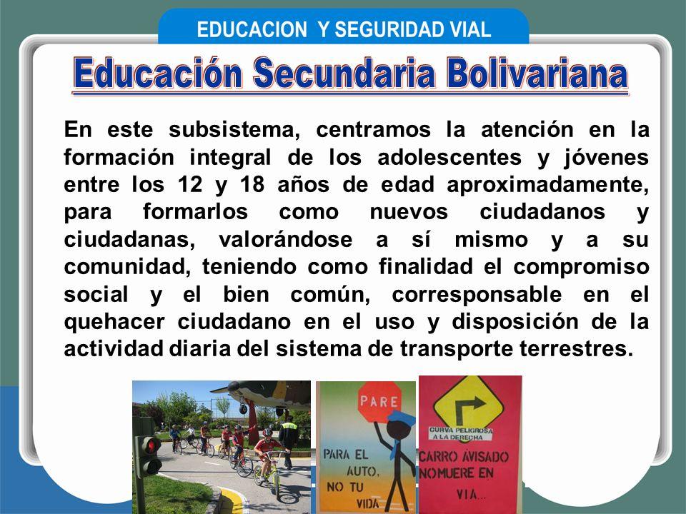 En este subsistema, centramos la atención en la formación integral de los adolescentes y jóvenes entre los 12 y 18 años de edad aproximadamente, para