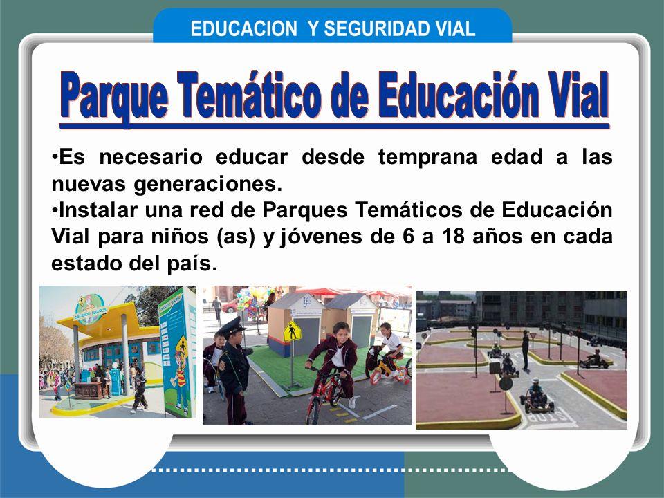 Es necesario educar desde temprana edad a las nuevas generaciones. Instalar una red de Parques Temáticos de Educación Vial para niños (as) y jóvenes d