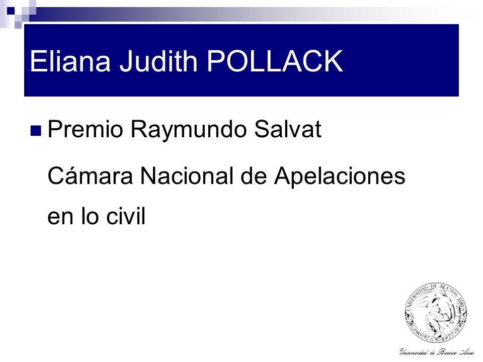 Universidad de Buenos Aires Eliana Judith POLLACK Premio Raymundo Salvat Cámara Nacional de Apelaciones en lo civil