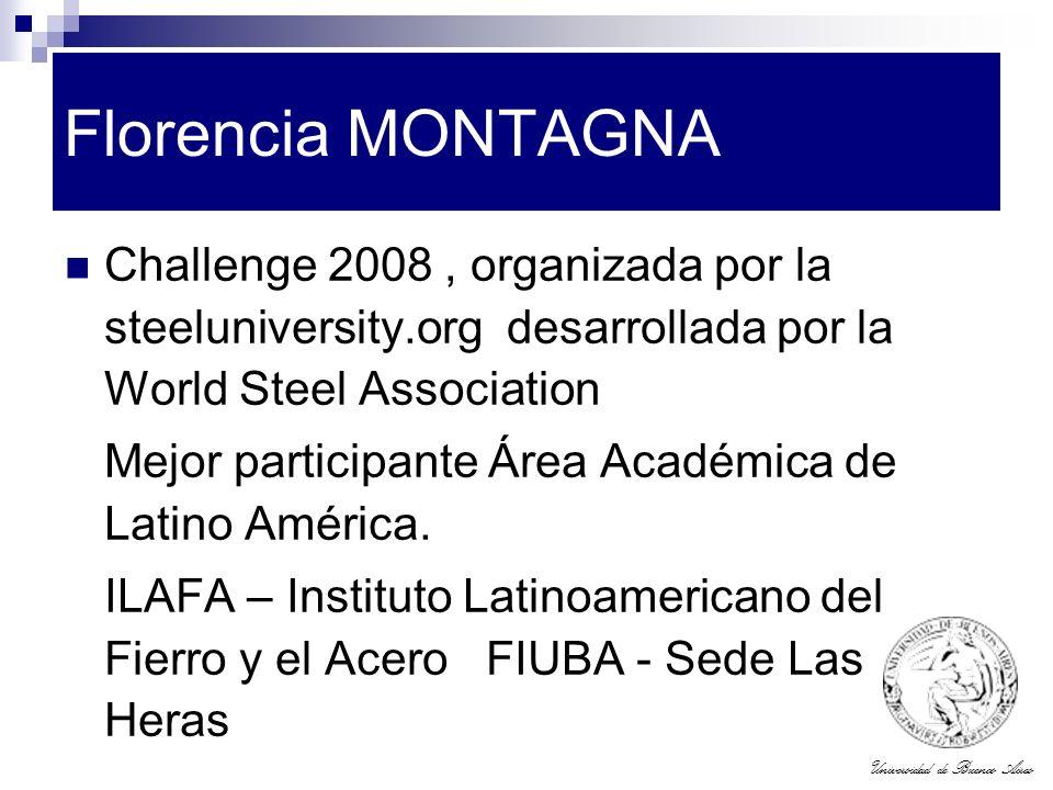 Universidad de Buenos Aires Florencia MONTAGNA Challenge 2008, organizada por la steeluniversity.org desarrollada por la World Steel Association Mejor