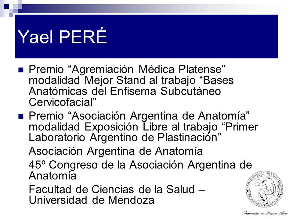 Universidad de Buenos Aires Yael PERÉ Premio Agremiación Médica Platense modalidad Mejor Stand al trabajo Bases Anatómicas del Enfisema Subcutáneo Cer