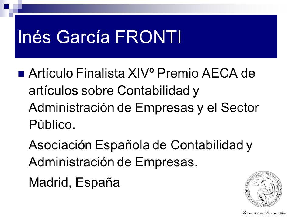 Universidad de Buenos Aires Inés García FRONTI Artículo Finalista XIVº Premio AECA de artículos sobre Contabilidad y Administración de Empresas y el S