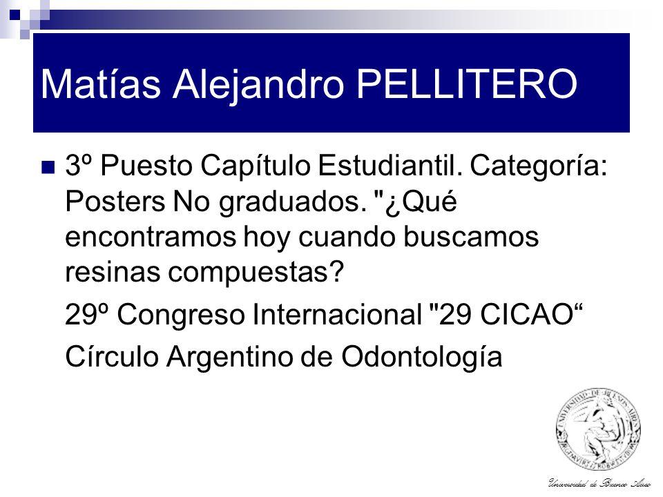 Universidad de Buenos Aires Matías Alejandro PELLITERO 3º Puesto Capítulo Estudiantil. Categoría: Posters No graduados.