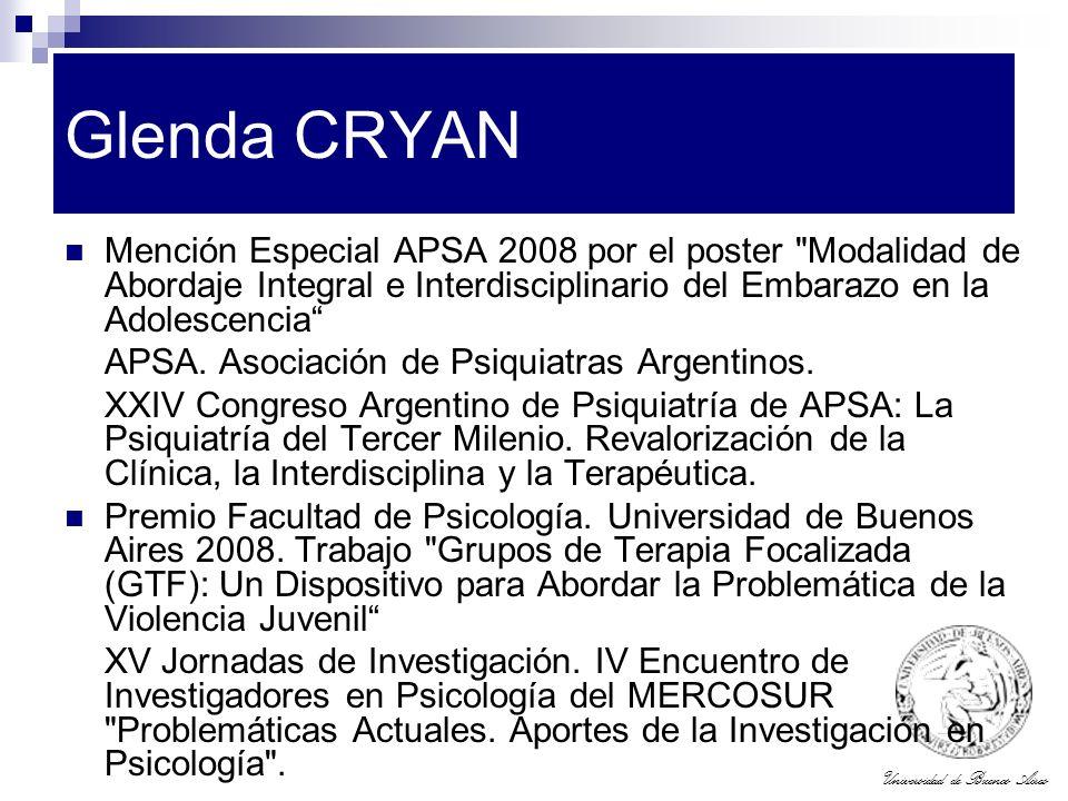 Universidad de Buenos Aires Glenda CRYAN Mención Especial APSA 2008 por el poster