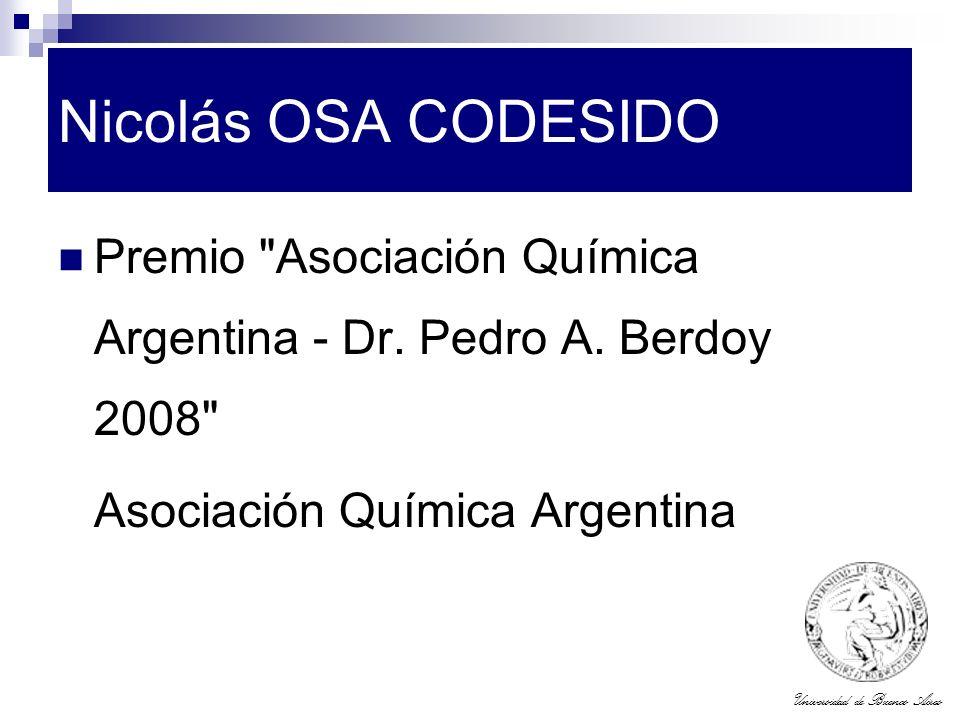 Universidad de Buenos Aires Nicolás OSA CODESIDO Premio