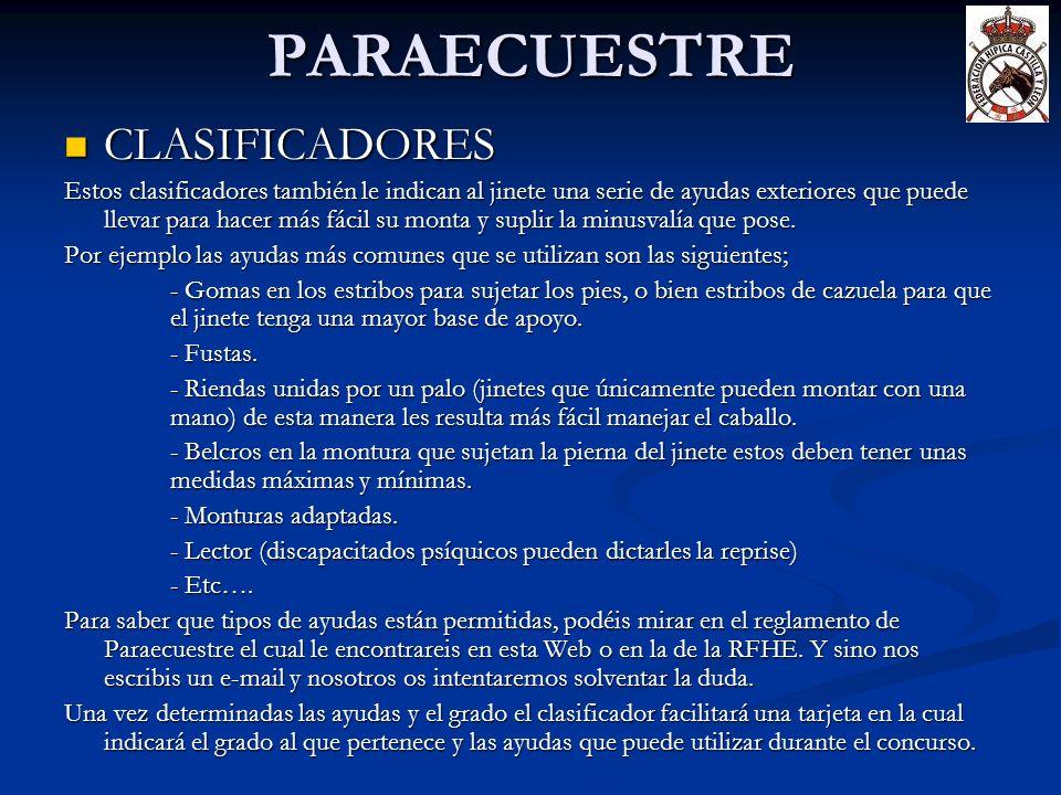 PARAECUESTRE CLASIFICADORES CLASIFICADORES Estos clasificadores también le indican al jinete una serie de ayudas exteriores que puede llevar para hace