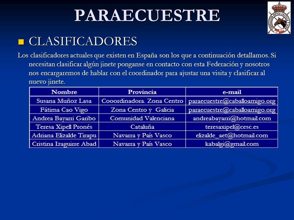 PARAECUESTRE CLASIFICADORES CLASIFICADORES Los clasificadores actuales que existen en España son los que a continuación detallamos. Si necesitan clasi