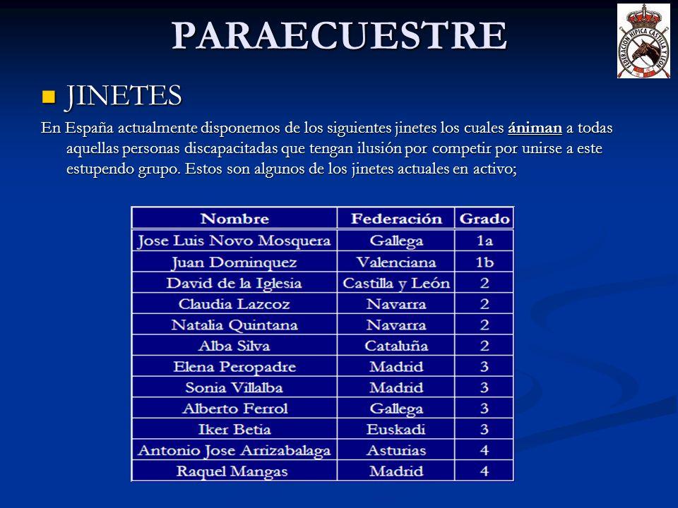 PARAECUESTRE JINETES JINETES En España actualmente disponemos de los siguientes jinetes los cuales ániman a todas aquellas personas discapacitadas que