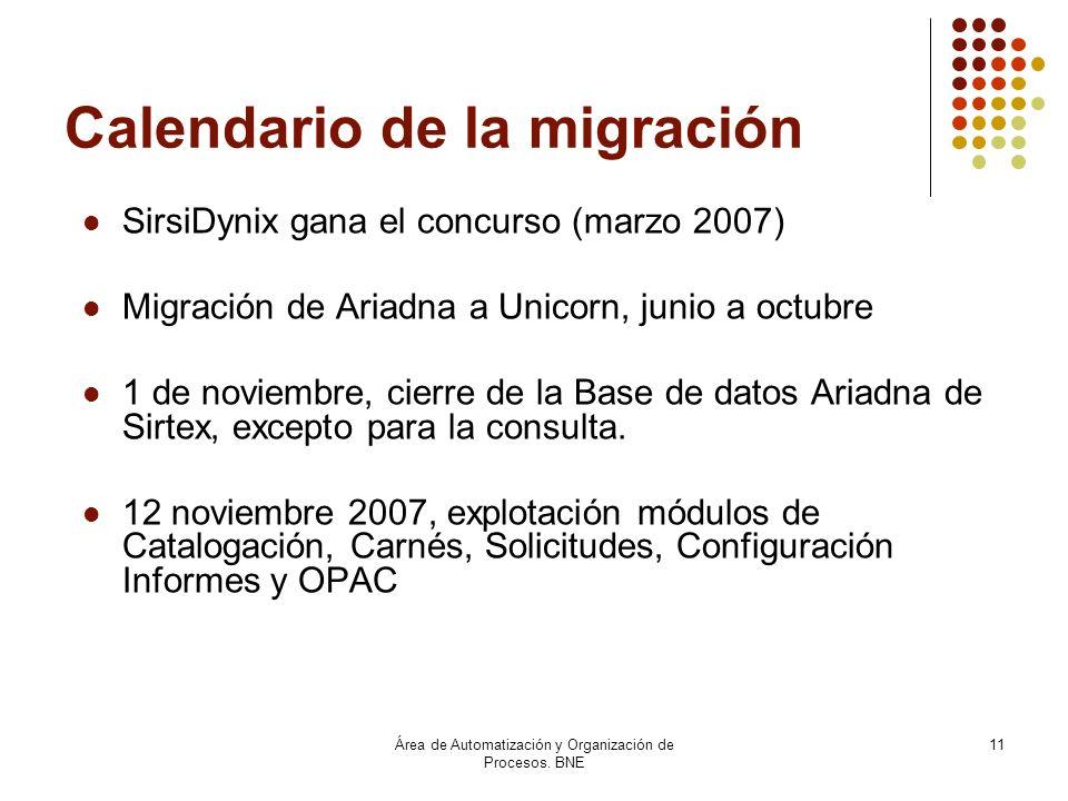 Área de Automatización y Organización de Procesos. BNE 11 Calendario de la migración SirsiDynix gana el concurso (marzo 2007) Migración de Ariadna a U