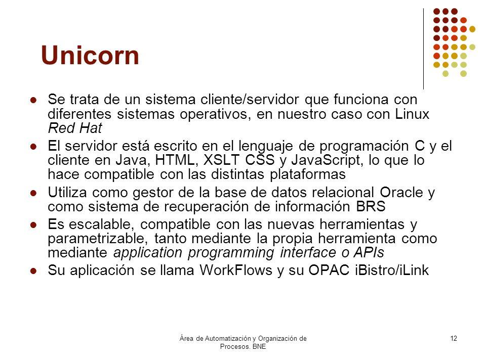Área de Automatización y Organización de Procesos. BNE 12 Unicorn Se trata de un sistema cliente/servidor que funciona con diferentes sistemas operati