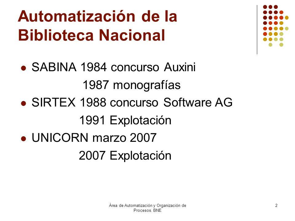 Área de Automatización y Organización de Procesos. BNE 2 Automatización de la Biblioteca Nacional SABINA 1984 concurso Auxini 1987 monografías SIRTEX
