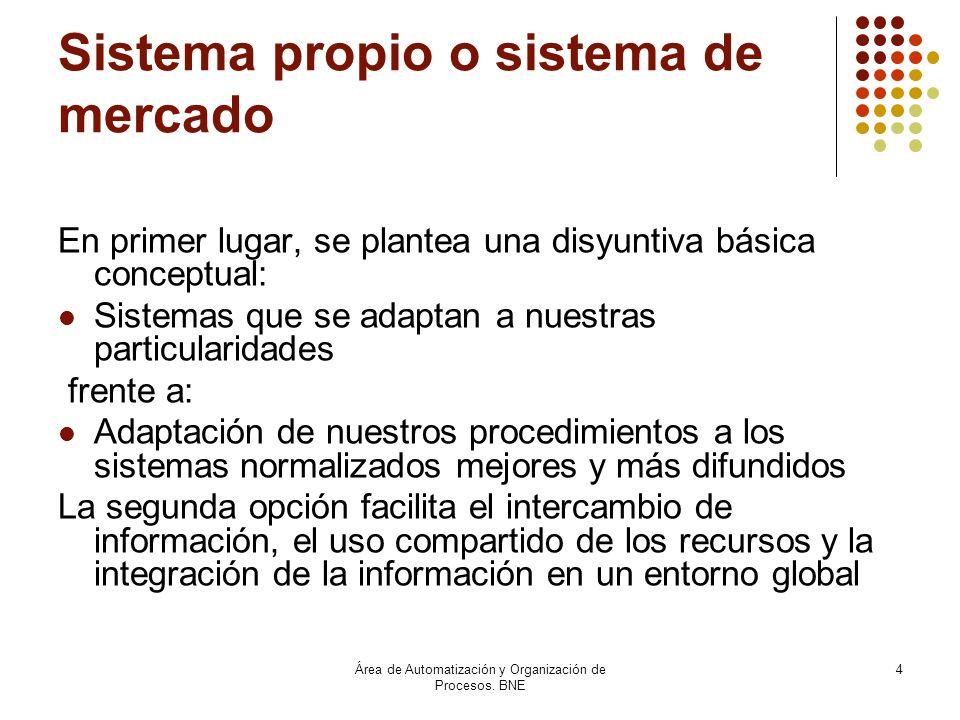 Área de Automatización y Organización de Procesos. BNE 4 Sistema propio o sistema de mercado En primer lugar, se plantea una disyuntiva básica concept
