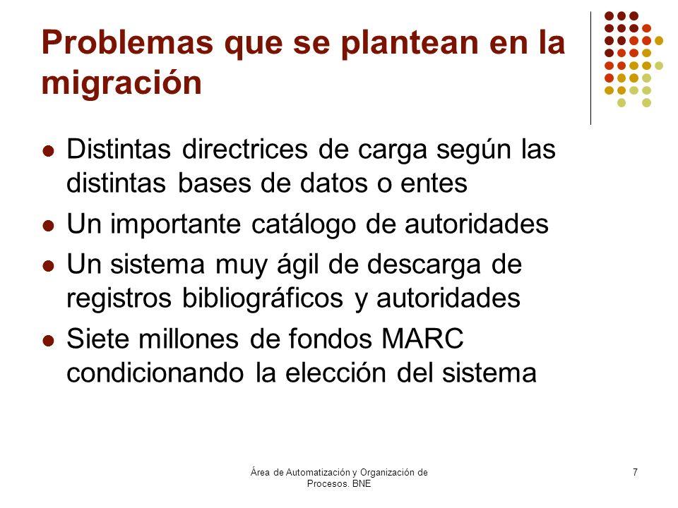 Área de Automatización y Organización de Procesos. BNE 7 Problemas que se plantean en la migración Distintas directrices de carga según las distintas