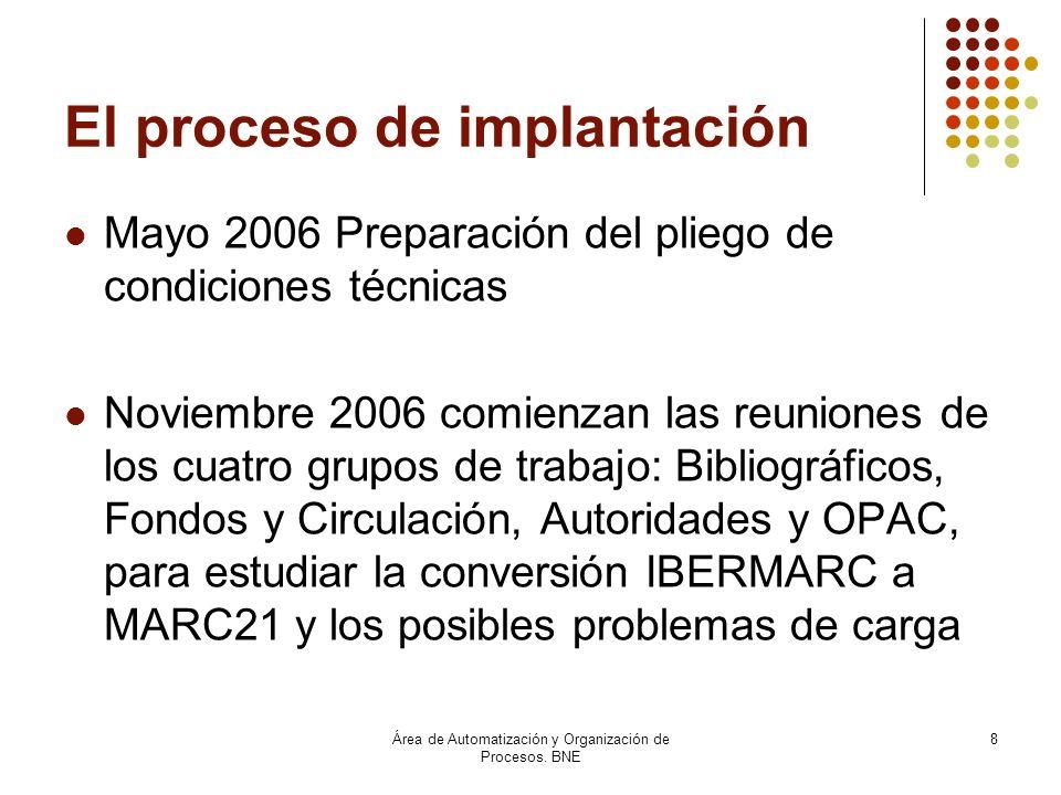 Área de Automatización y Organización de Procesos. BNE 8 El proceso de implantación Mayo 2006 Preparación del pliego de condiciones técnicas Noviembre