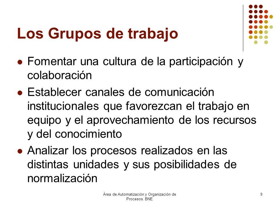 Área de Automatización y Organización de Procesos. BNE 9 Los Grupos de trabajo Fomentar una cultura de la participación y colaboración Establecer cana